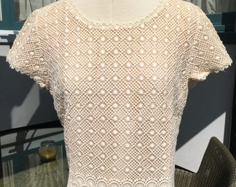 Vintage 1960s Cream Lace Blouse - Dermore of Mayfair London -Very pretty