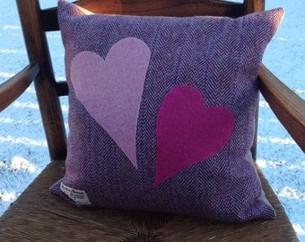 Harris Tweed Cushion, Hearts Appliqué Cushion, gift for her, engagement gift, free postage