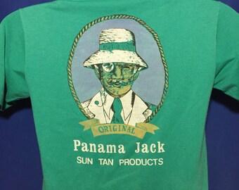 Vintage 1980s Panama Jack Sun Tan Lotion t shirt thin soft *XS