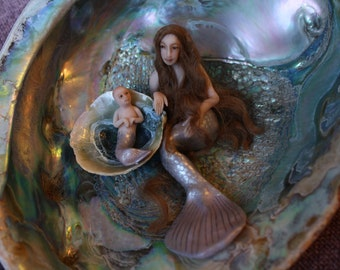 Mermaid Mother and Merbaby in Iridescent Abalone Shell