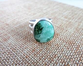 Lucin Variscite Sterling Ring  (Size 8)
