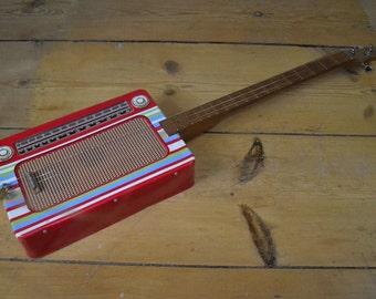 Transistor Radio Tin 3 String Guitar, , Cigar box Guitar, 3 string  Tin Box Guitar, Upcycled, Handmade, Electro Acoustic