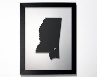 Mississippi Map / Laser Cut Map / Mississippi State Art / Mississippi Art / Framed State Map / Mississippi Gift / Wedding Gift / Anniversary