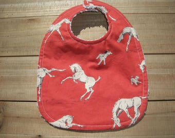 Cowboy Western Baby Bib Ready To Ship Horses
