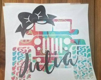 Jeep Decal, Jeep with Bow, Lilly Pulitzer Jeep Sticker, Monogram Sticker, Monogram Decal, Car Decal, Yeti Decal, Monogrammed Jeep