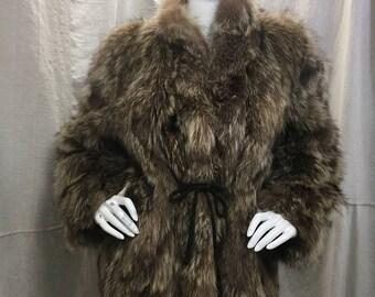 80s Fur Coat // Vintage 1980s Womens Raccoon Fur Jacket Brown Tie Sash