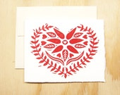 Single Card - Red Heart Valentines Day Card - Greeting Card - 1 Block Printed Card