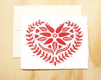 Single Card - Valetines Day - Red Heart Card - Swedish Heart - Greeting Card - 1 Block Printed Card