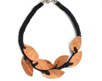 Genuine Leather Necklace, Genuine Leather Leaves, Leather Collar Necklace,Fabric Necklace, Bib Necklace