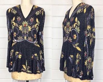 Vintage 1980s India Silk Sequin & Beaded Blouse / Peplum / Gold Floral / Black Silk