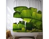 Banana Leaf Shower Curtains, Tropical Bath Decor, Banana Leaves Decor, Bath Accessories, Tropical Bathroom, Green Shower Art