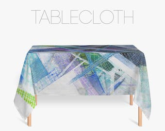 Abstract Tablecloth, Abstract Art, Blue Tablecloths, Kitchen Decor, Kitchen Linens, Fabric Tablecloth