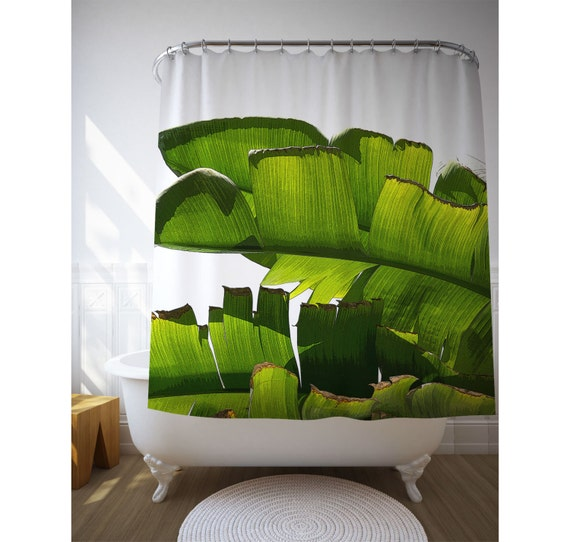 Banana Leaf Shower Curtains, Tropical Bath Decor, Banana Leaves Decor, Bath Accessories, Tropical Bathroom, Green Shower Art