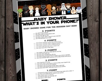 Star Wars Whats In Your Phone Baby Shower Game, Starwars Baby Shower Games,  Instant