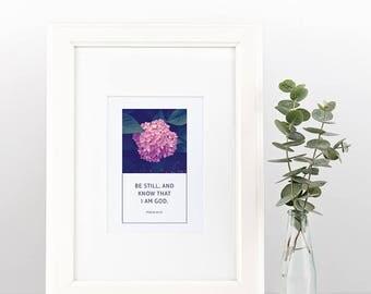 Psalm 46:10 | Simple, Beautiful Scripture Print | Instant Download | Digital Print | Framed Art | Wall Art | Christian Inspiration