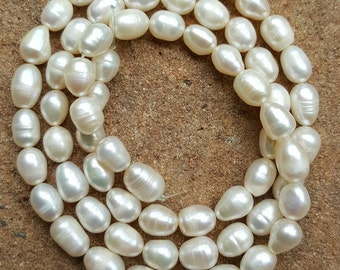 Freshwater Rice Pearls 5mm-7mm White x 45cm Strand