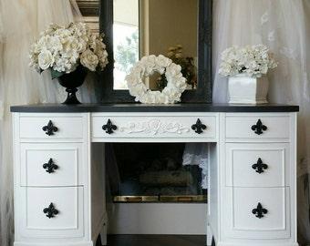 UNAVAILABLE! Glam Chic Black & White French Script Vanity Desk Mirror Hollywood Marilyn Mancini Boudoir Dressing Dresser Southern California