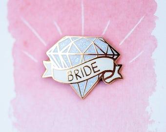 Bride Pin - Hen Party - Diamond Pin - Diamond Enamel Pin - Lapel Pin - Hen Party Favours - Hen Party Gift - Enamel Pin - Enamel Lapel Pin