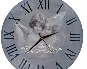 Wall clock two angels/Decoupage wall clock/Angels clock/Vintage wall clock/FREE SHIPPING