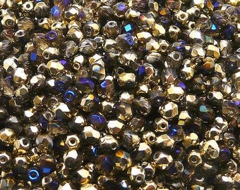 100pcs Czech Fire-Polished Faceted Glass Beads Round 4mm Crystal California Blue