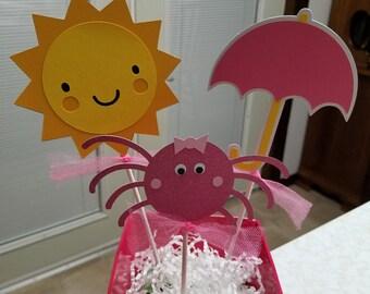 Itsy Bitsy Spider centerpiece. Itsy Bitsy Spider Photo memory Banner, Itsy Bitsy Spider birthday, Itsy Bitsy spider baby shower