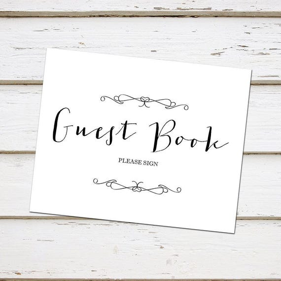 Printable Guest Book Sign Wedding Sign Please Sign Our Guest Book Simple