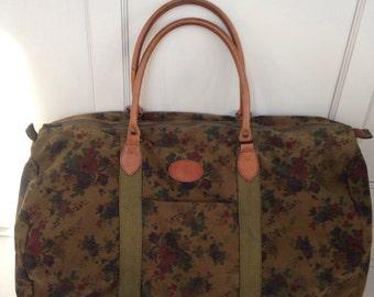 LARGE army green floral tote, overnight bag, book bag, weekender bag