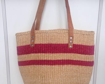 Vintage Sisal market bag - jute tote