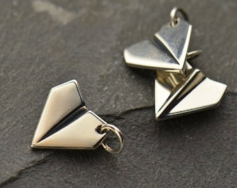 Sterling Silver Paper Airplane Charm. Paper Plane Charm.