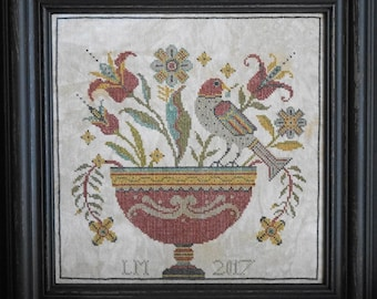 "LA~D~DA ""Fraktur Flowers"" | Cross Stitch Pattern | Pennsylvania Dutch, Folk Art,  Bird, Flowers, Urn"