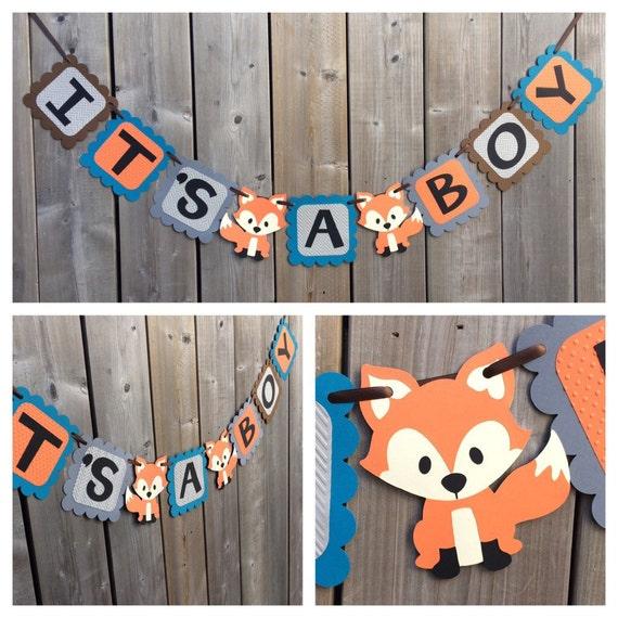 baby shower blue orange fox banner fox baby shower decorations