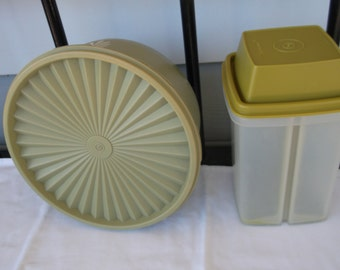 Vintage Tupperware 1 Pickle Keeper and 1 Stackable Canister or Storage Container, Green ,1970s