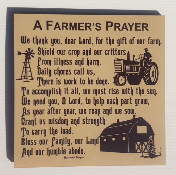 FARMER'S PRAYER - American Farmer - Farming Family - Gift for Farmer - Rural Living -