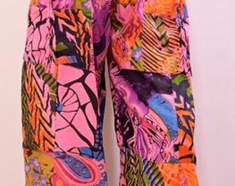 Plus Size Hippie Noho Retro Floral Patchwork Harem Pant Trouser Pink 18 20