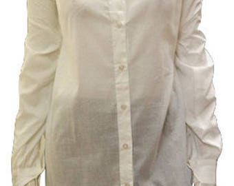 Plus size button down long sleeved faux collared cotton shirt White 18 32