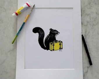 A4 Travelling Squirrel Print