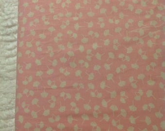 Pink Fabric with Small White Leaves, Fabric by  the Yard, Vintage Fabric, OOP