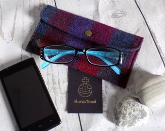 Harris Tweed eyeglasses case/phone pouch. Snap closure. Choose from 60 gorgeous fabrics