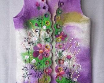 Handmade felted waistcoat, Wool vest, Woman waistcoat, Felted jacket, Felt vest