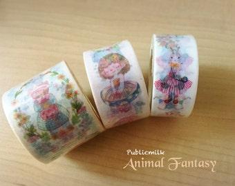 Masking tape set - Animal Fantasy, washi tape, page label index, Washi Tape roll set, Paper Tape