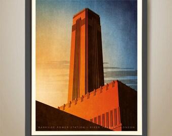 Bankside Power Station. London. Thames River. Art Deco Building