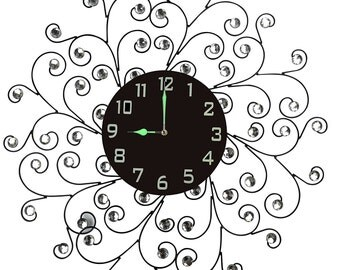 Creeper Metal Wall Clock with Crystal Accents and Arabic Numerals, Diameter 25 Inch, Black Dial [L56ND]