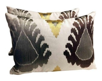 Pair Of Schumacher Silver Ikat Lumbar Pillows. Free Shipping and Down Feather Inserts.