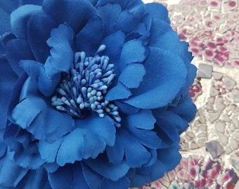 Single Pre-made Royal Blue Peony Hair Flower