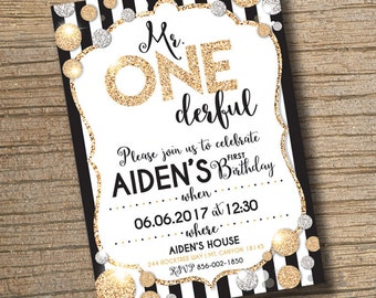 PRINTABLE 1st Birthday Invitation, Mr Onederful Invitation, ONEderful Birthday Party Invitation, Boy 1st Birthday Invite, Gold Glitter Photo