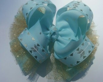 Girls Boutique Hair Bow, Aqua Blue Hair Bow, Stacked Hairbow, OTT Hair Bow, Toddler Hair Bow, Tulle Hair Bow