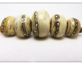 Handmade Lampwork Ivory and Silvered Ivory Glass Bead Bracelet or Necklace Set with Fine Silver Detail - Rio Marble