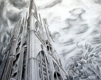 Piercing the Sky - Charcoal on Paper Art