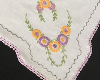 Square Table Scarf Dresser Scarf Eastern European Hand Embroidered