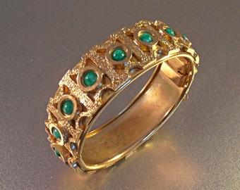 Hinged Peking Glass Bangle Bracelet, Art Deco Style, Layered Gold Gilt Stacking